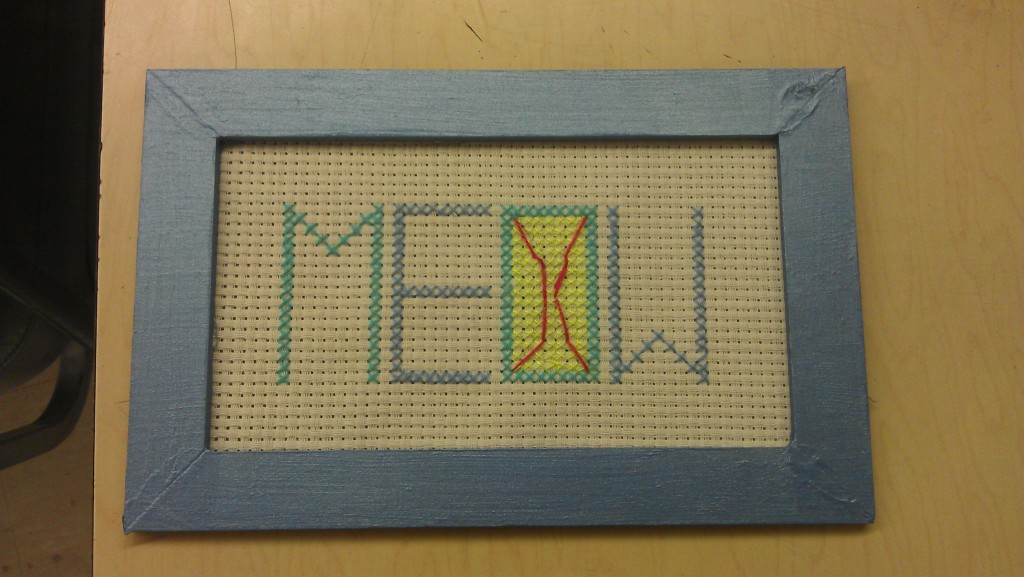 This is my finished product of my cross stitch picture.
